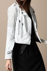 Burberry Brit Studded Leather Biker Jacket - Lyst