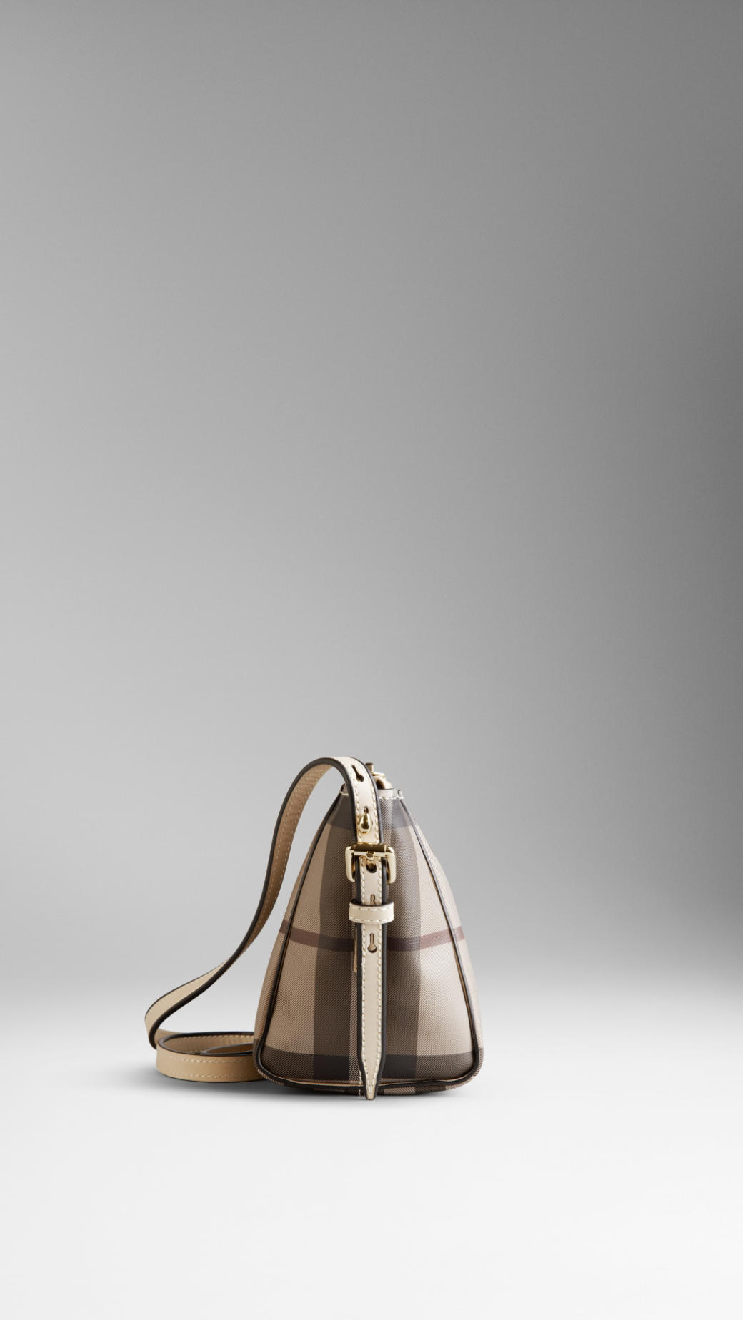 8164e292f49c Lyst - Burberry Small Smoked Check Saddle Stitch Crossbody Bag in ...