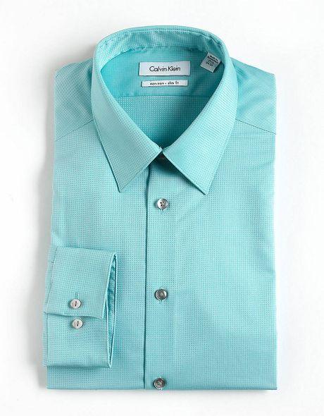 Calvin Klein Textured Striped Cotton Dress Shirt In Blue