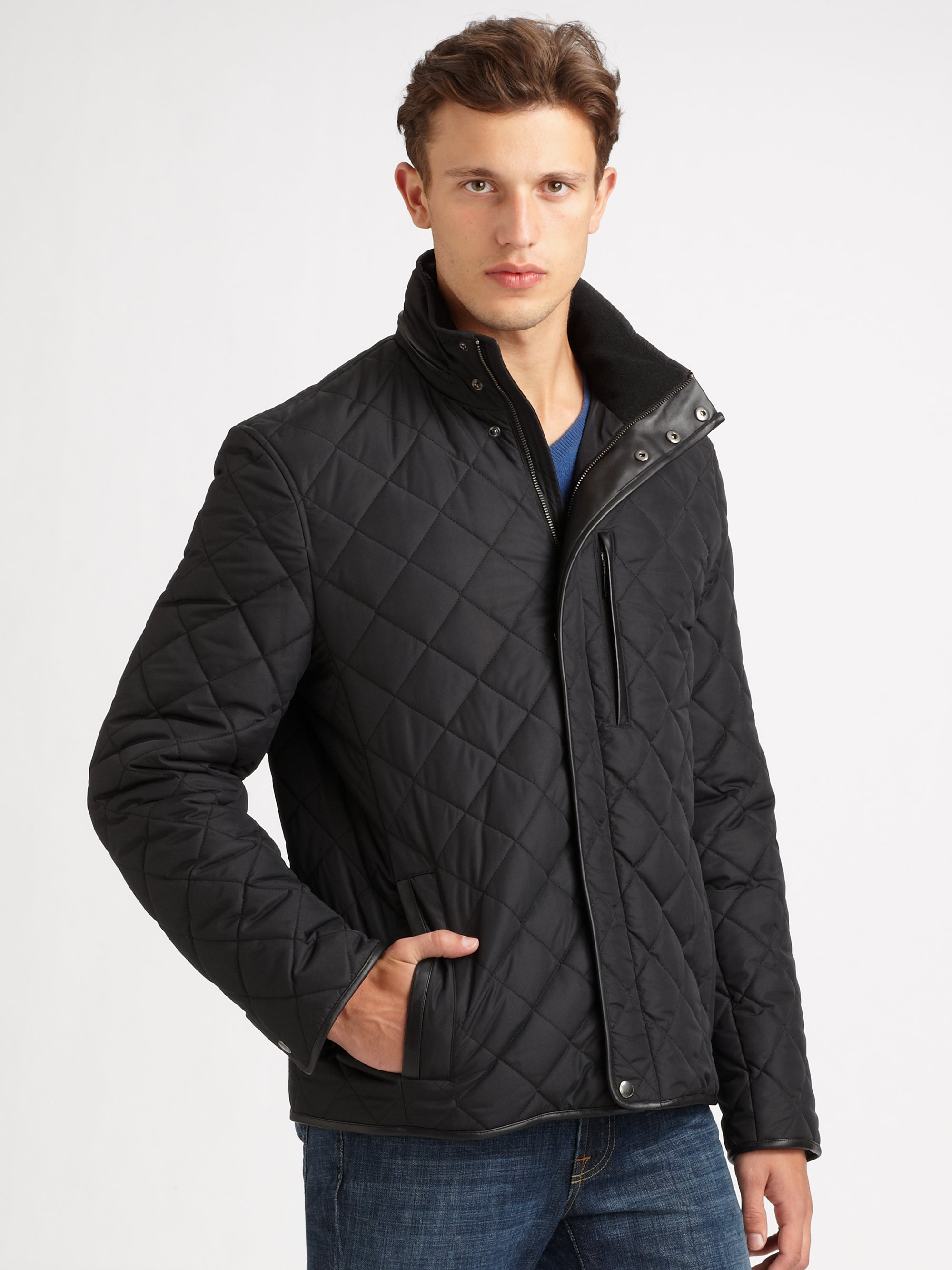 Cole Haan Quilted Jacket In Black For Men Lyst