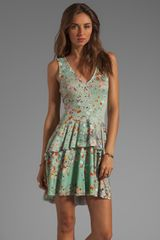 Cynthia Rowley Printed Jersey Vneck Floral Dress in Mint Confetti - Lyst