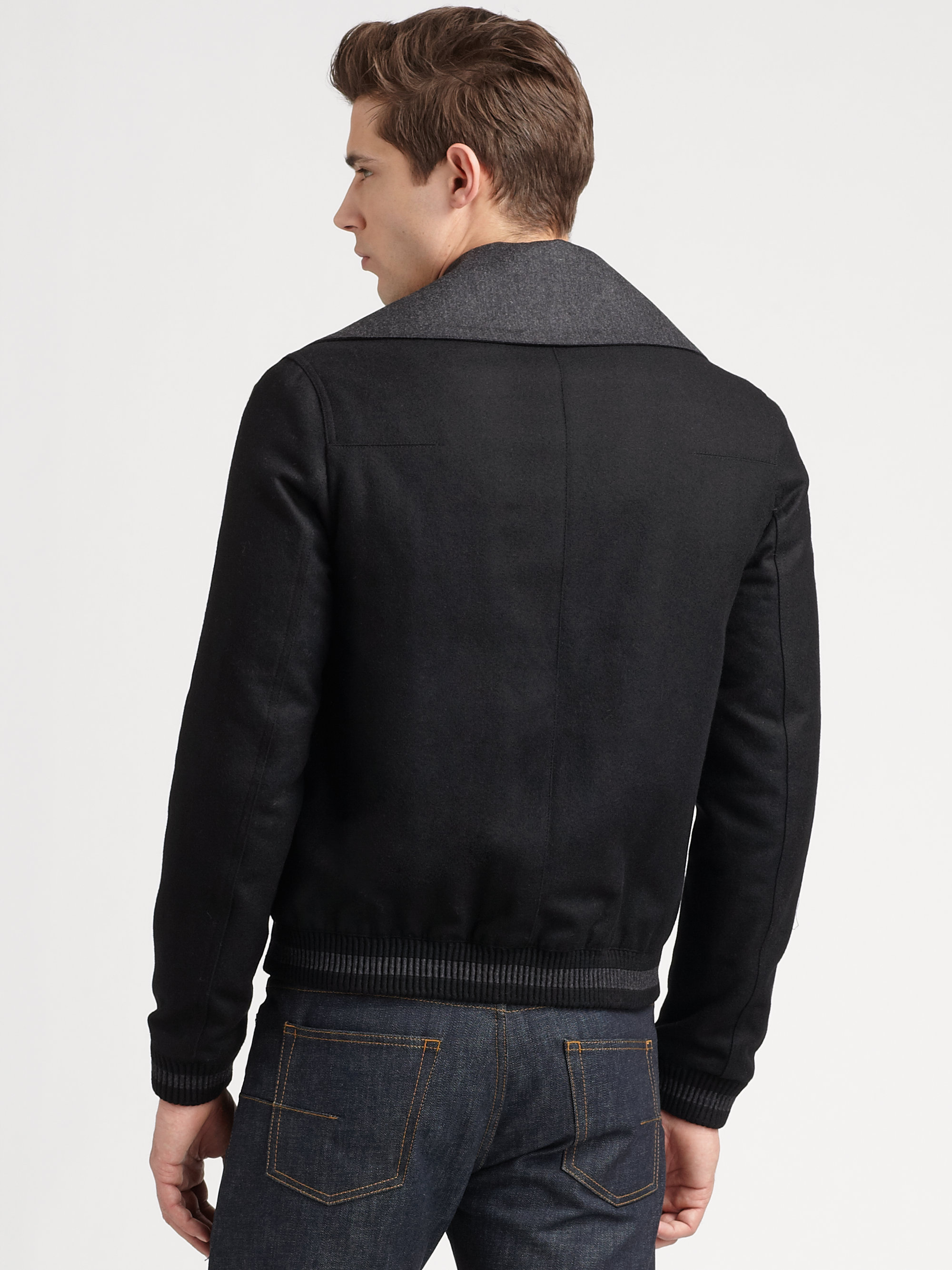Dior homme Wool Bomber Jacket in Black for Men | Lyst