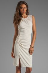 Halston Heritage Sleeve Dress with Sheer Contrast and Side Leg Slit in Cream - Lyst
