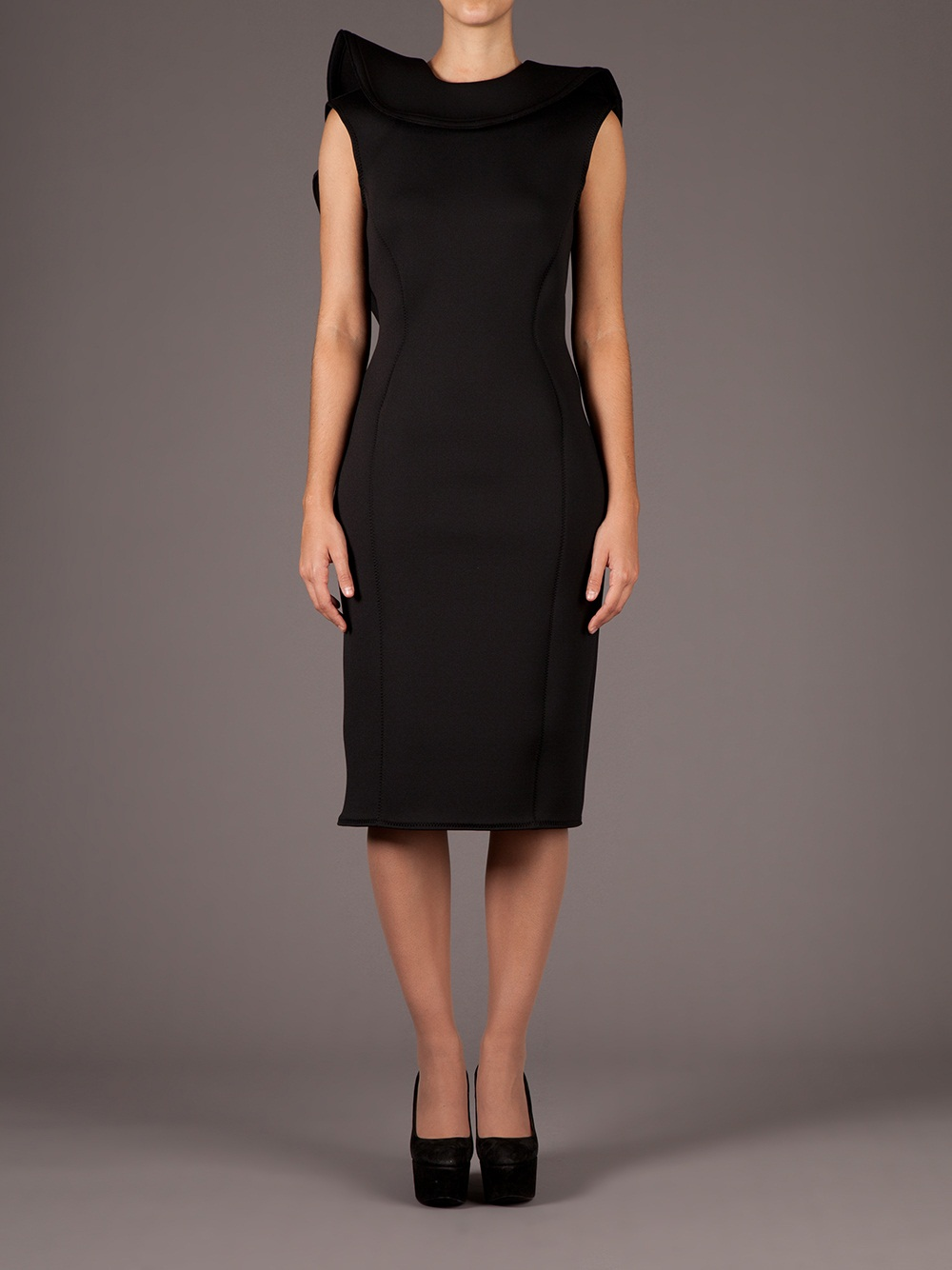 Lyst Lanvin Asymmetrical Dress In Black