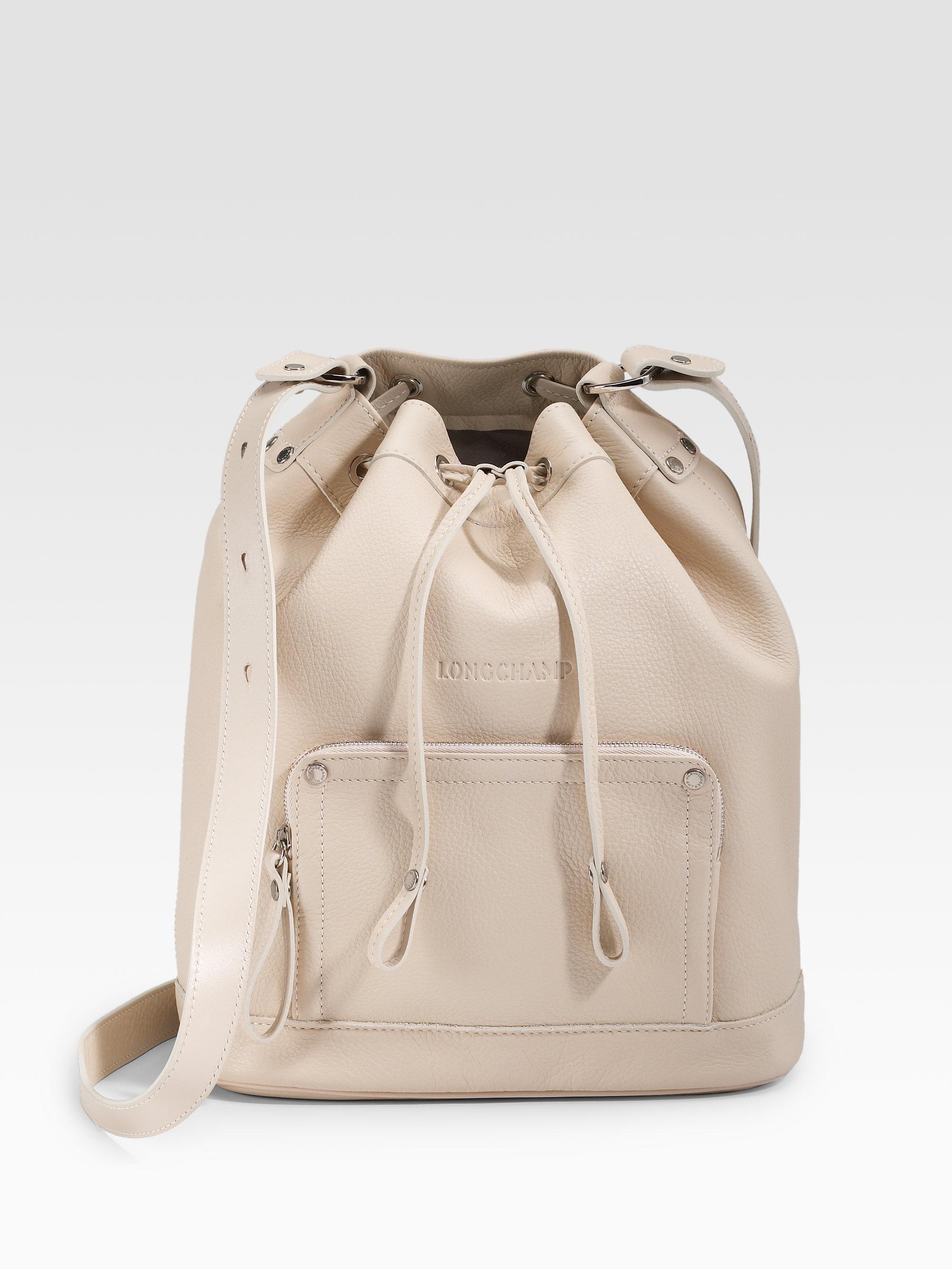 Lyst - Longchamp Drawstring Leather Shoulder Bag in Natural e35b7bcceb
