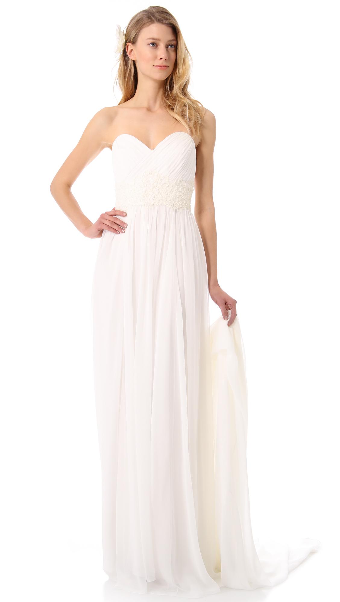 Marchesa Grecian Strapless Sweetheart Gown in Beige Cream