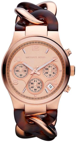 Michael Kors Ladies Rose Gold Chronograph Watch with Twisted Band - Lyst