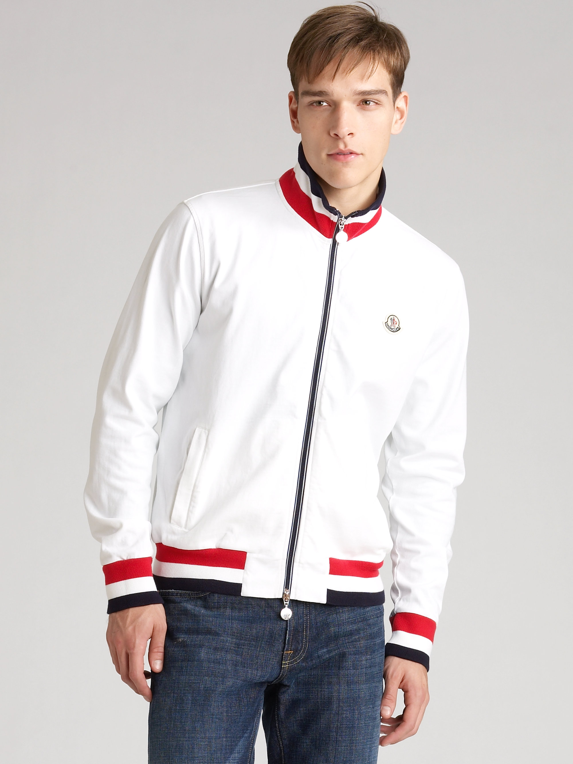 57f3a52e0f5c Lyst - Moncler Track Jacket in White for Men