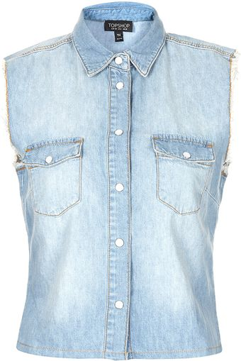 Moto Raw Edge Crop Denim Shirt - Lyst