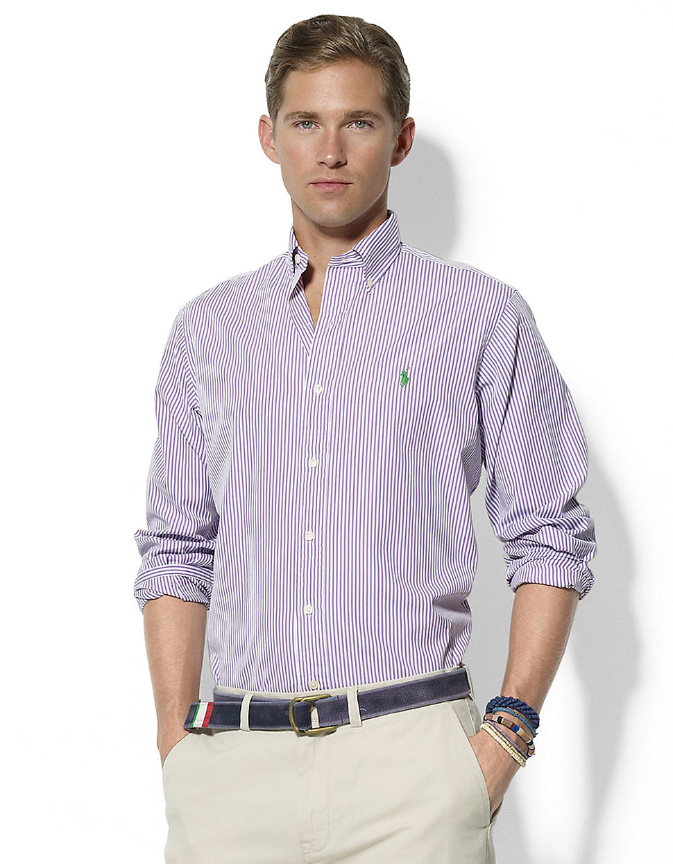 cb3da1ef75 Polo Ralph Lauren Custom Fit Striped Cotton Poplin Shirt in Purple ...