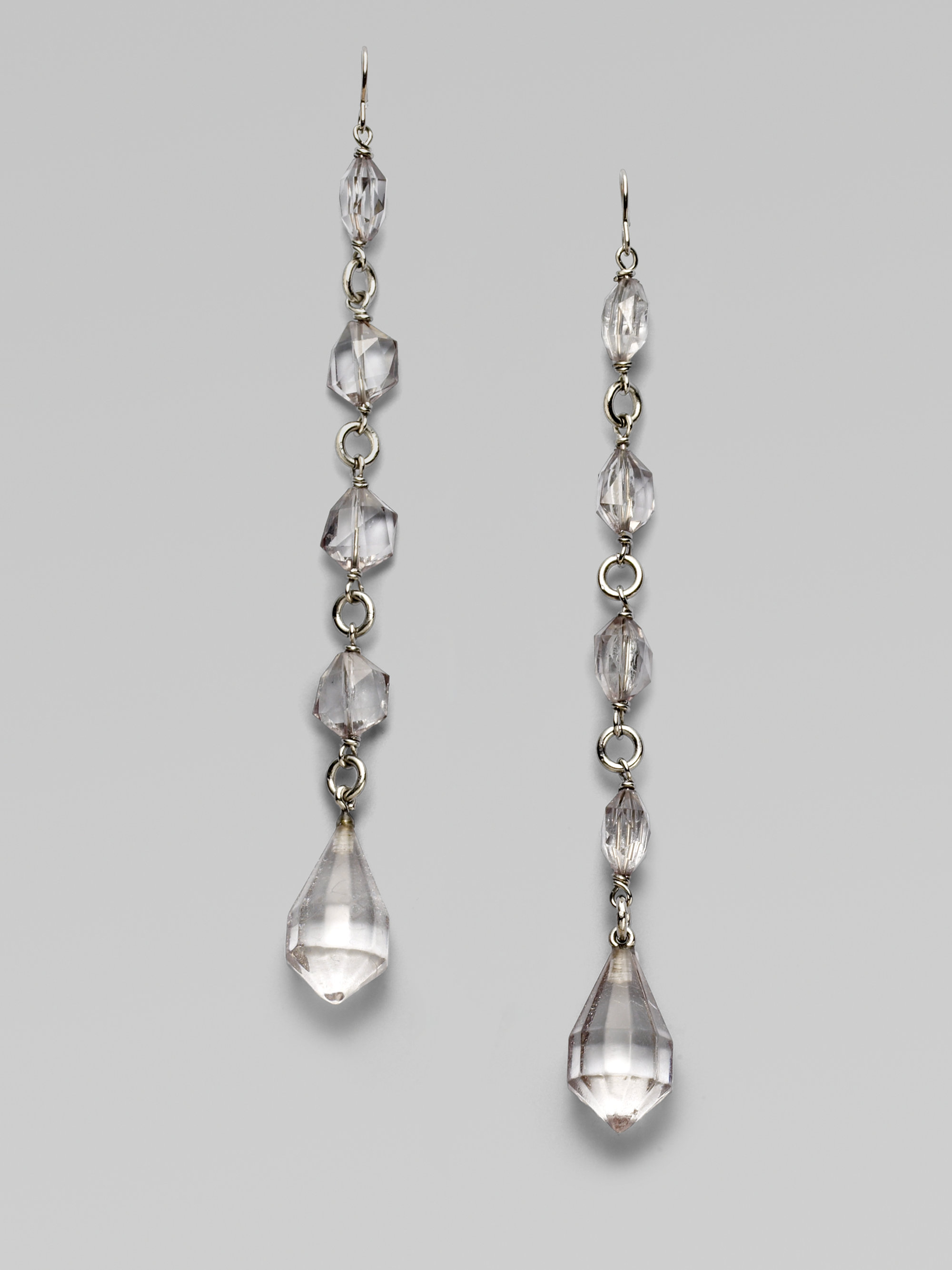 Lyst - Prada Plex Crystal Drop Earrings in Metallic 3dd255a961