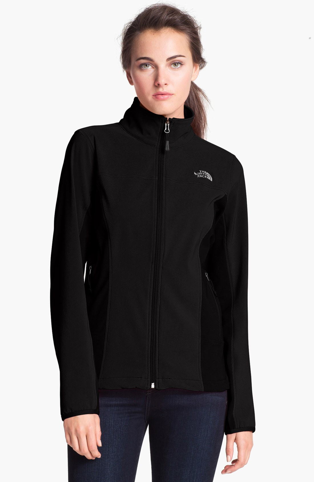 the north face nimble soft shell jacket in black lyst. Black Bedroom Furniture Sets. Home Design Ideas