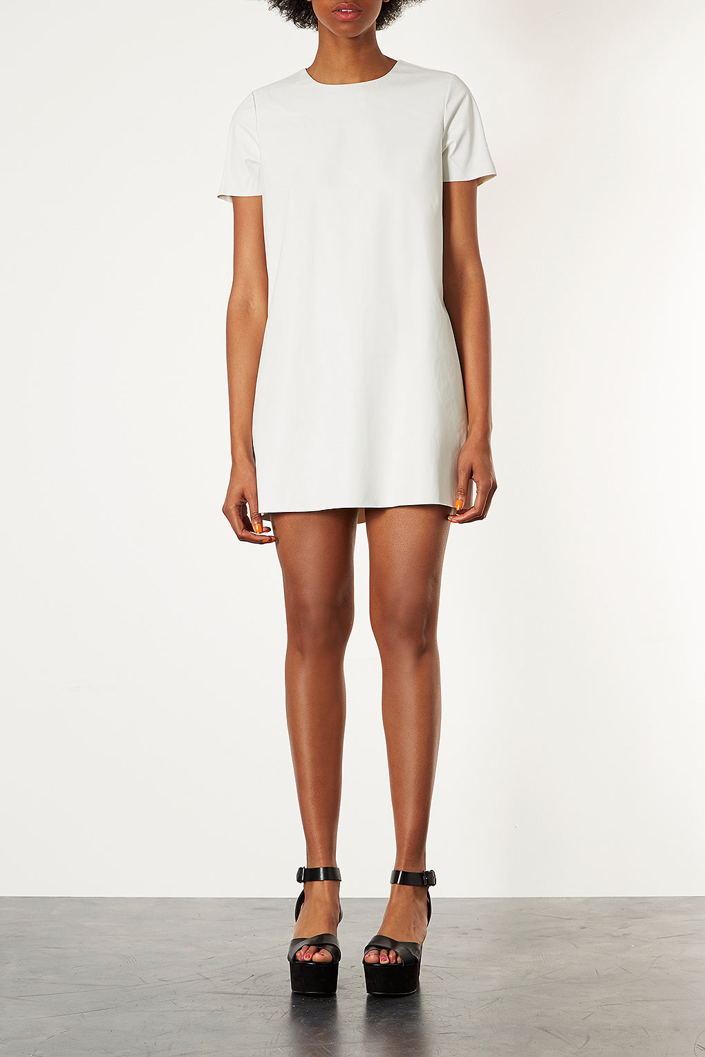 Lyst topshop leather look tshirt dress in white for Womens denim shirts topshop