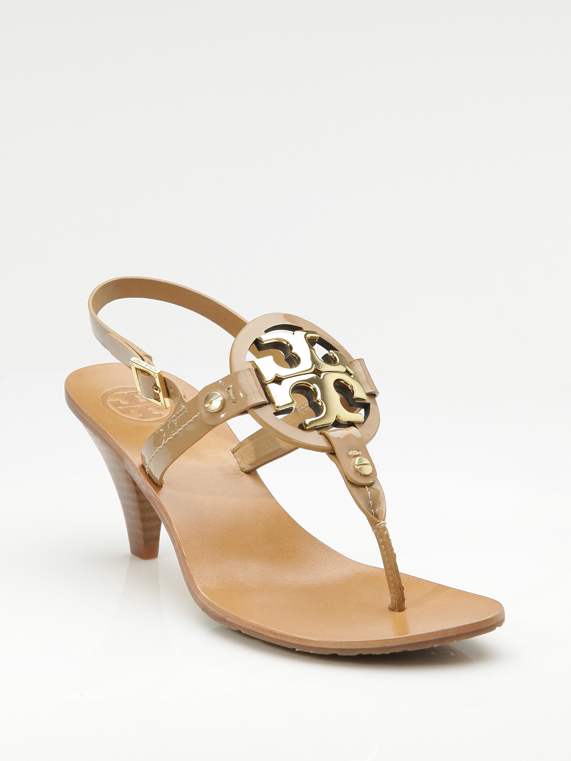 Tory burch Holly 2 Kitten Heel Logo Patent Thong Sandals in ...