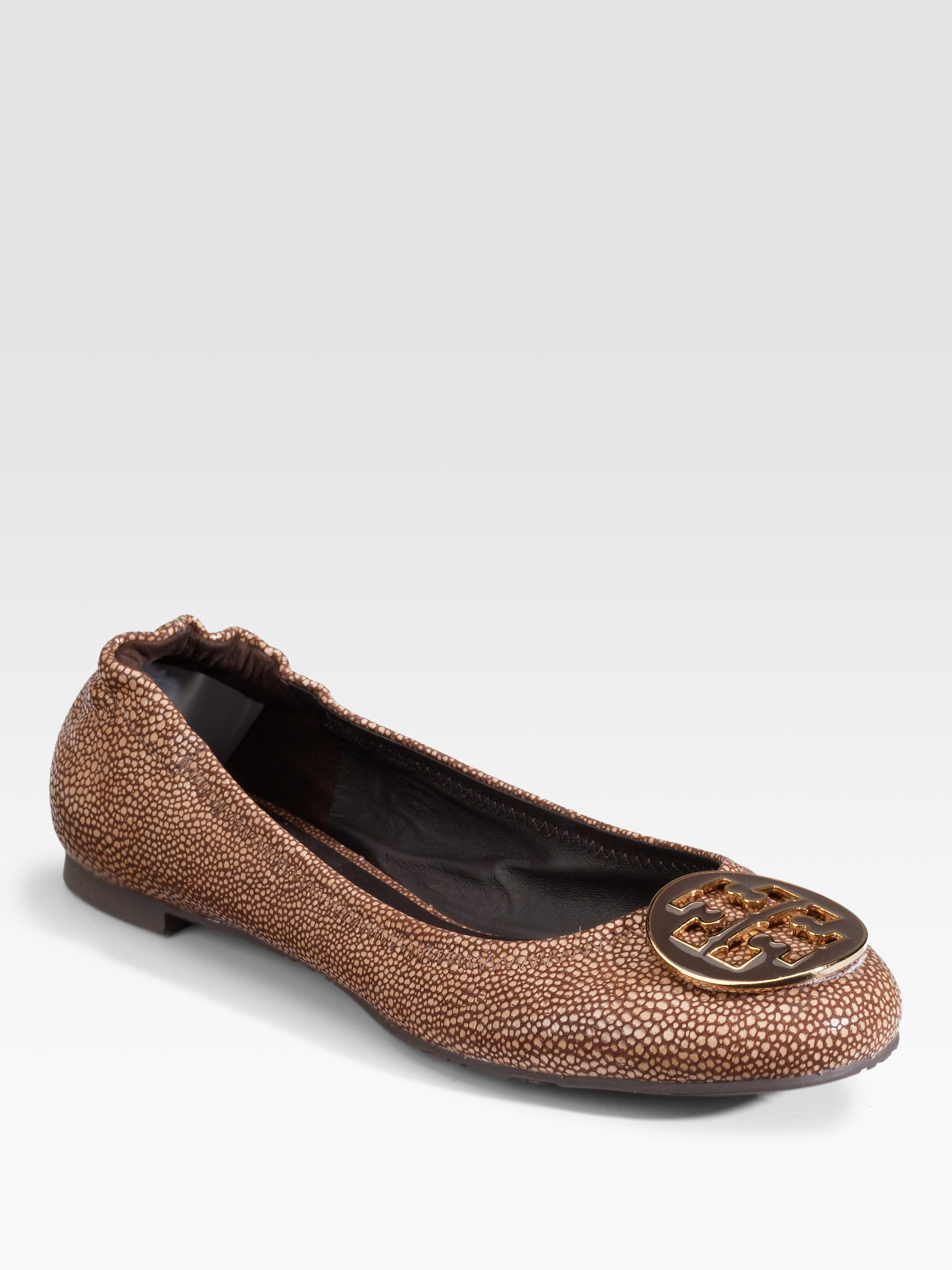 68127384abe52b Lyst - Tory Burch Reva Stingray Leather Ballet Flats in Brown