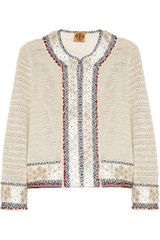 Tory Burch Donovan Embellished Crochet Knit Linen Jacket - Lyst
