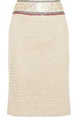 Tory Burch Donovan Embellished Crochetknit Linen Pencil Skirt - Lyst