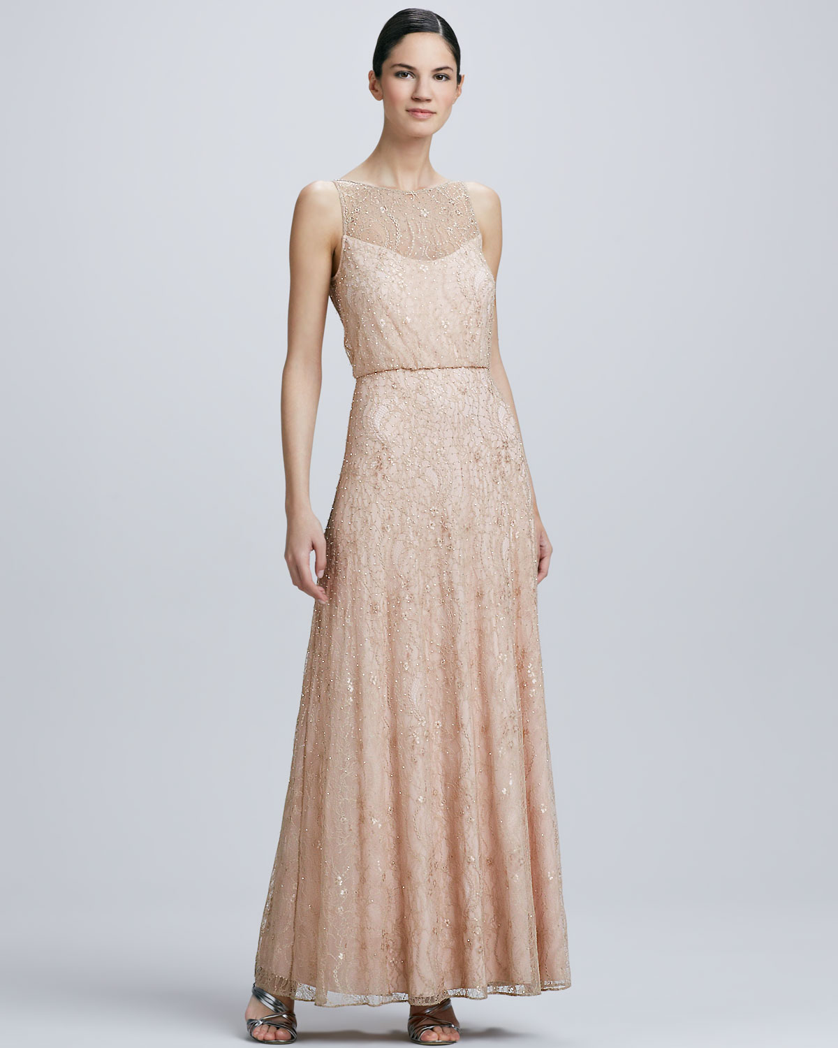 Aidan mattox illusion neck a line gown in natural lyst gallery ombrellifo Choice Image