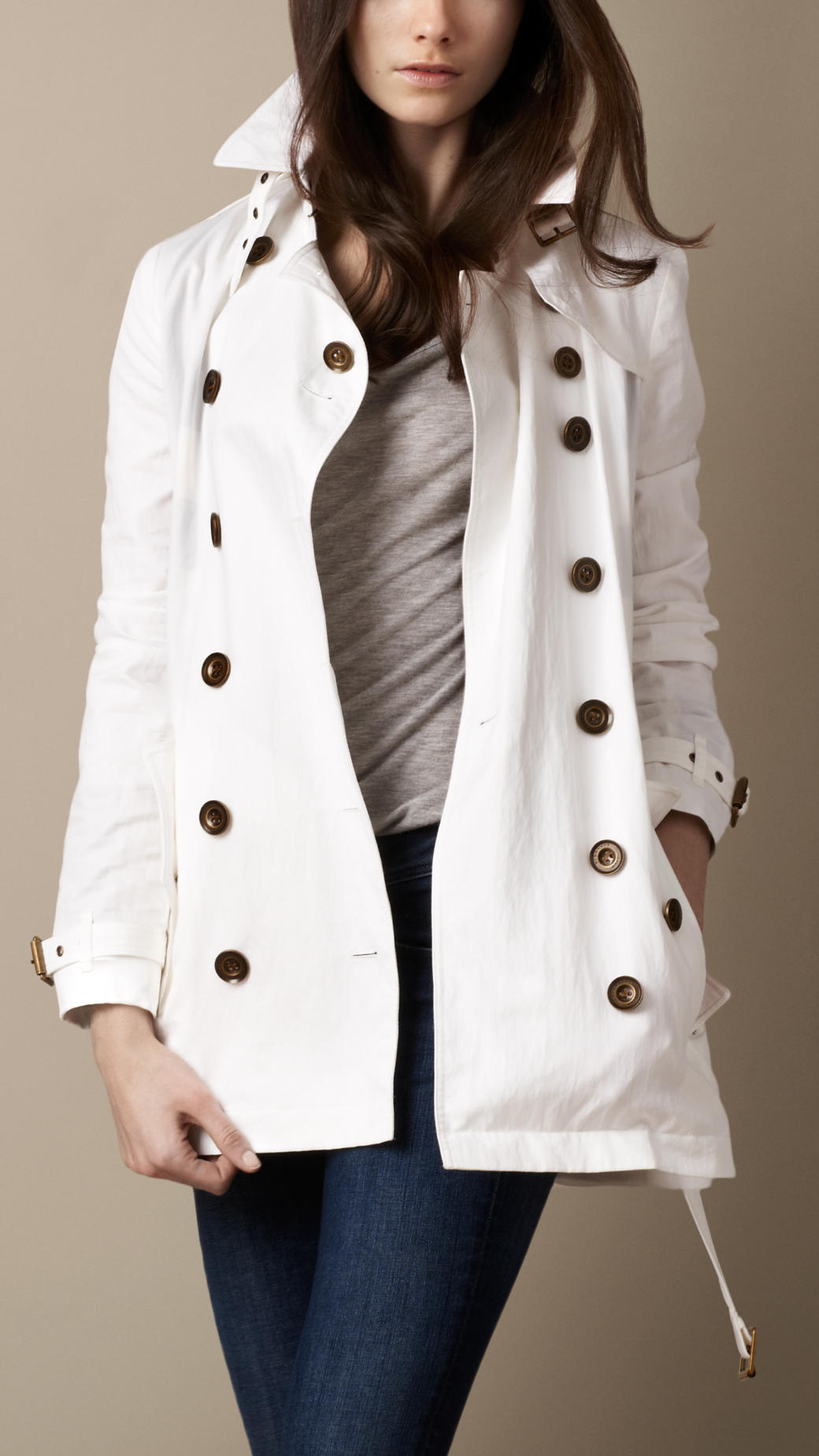 Burberry Brit Short Technical Cotton Trench Coat In White