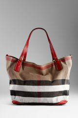 Burberry Large Check Canvas Tote Bag - Lyst