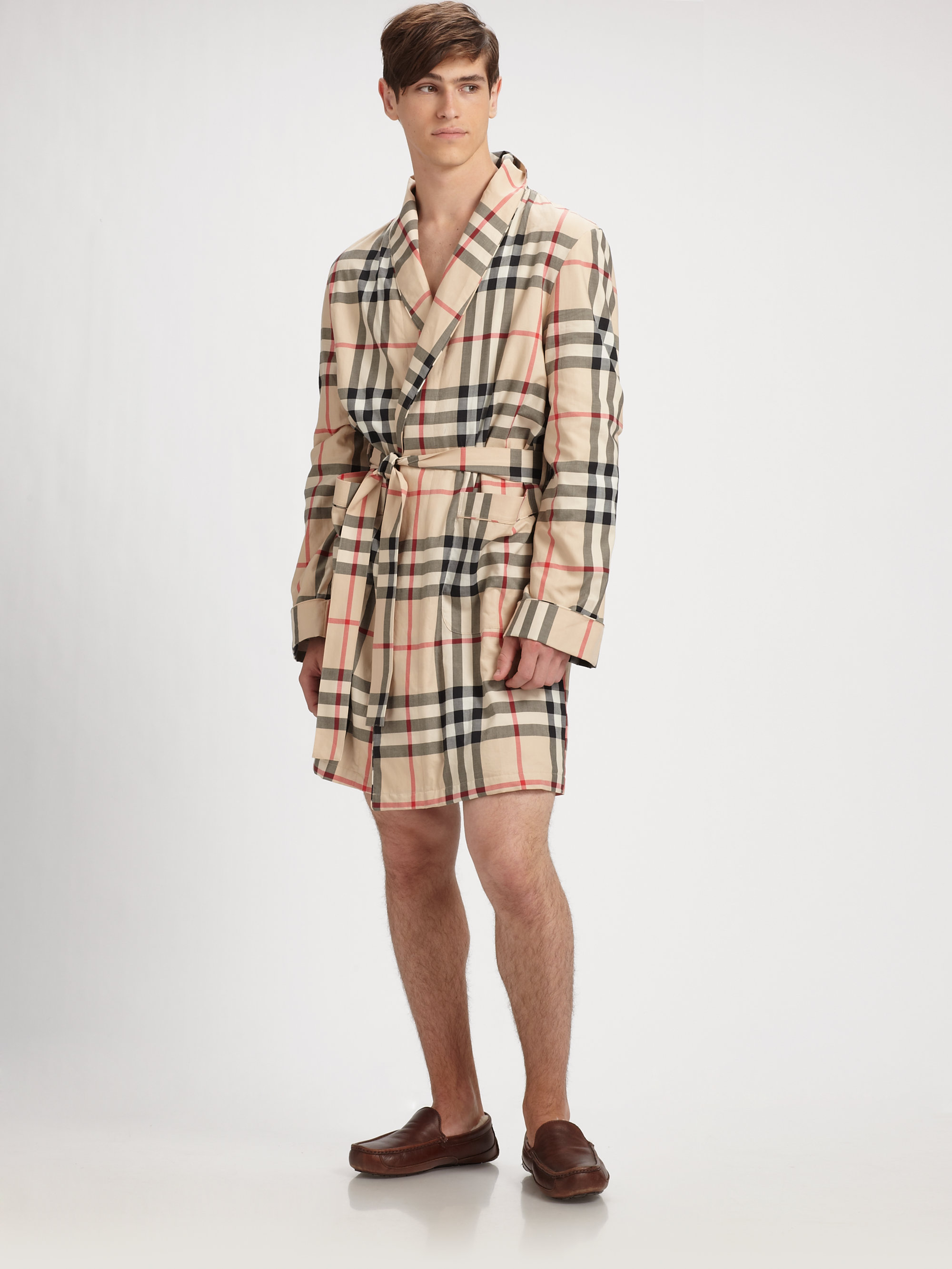 Lyst - Burberry Check Robe in Natural for Men