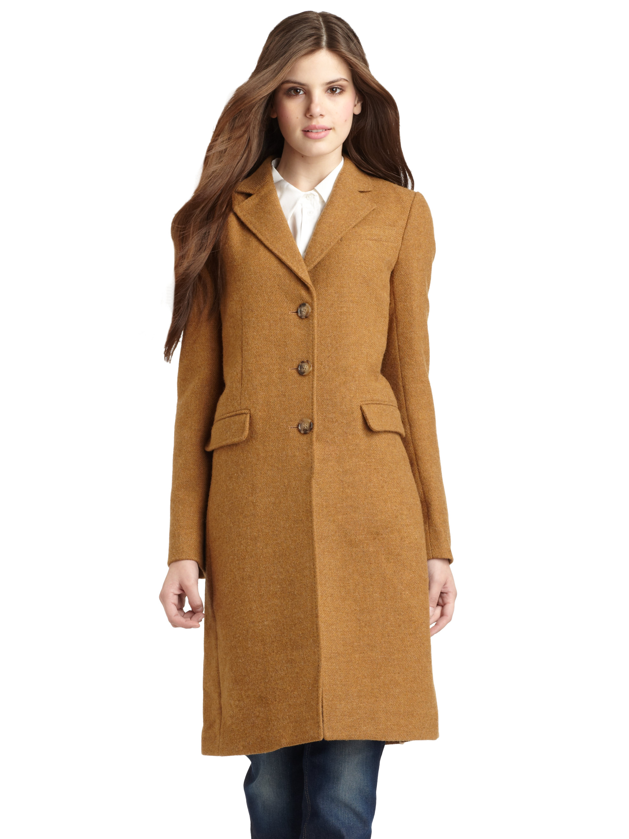 Dolce & gabbana Wool Coat in Natural | Lyst