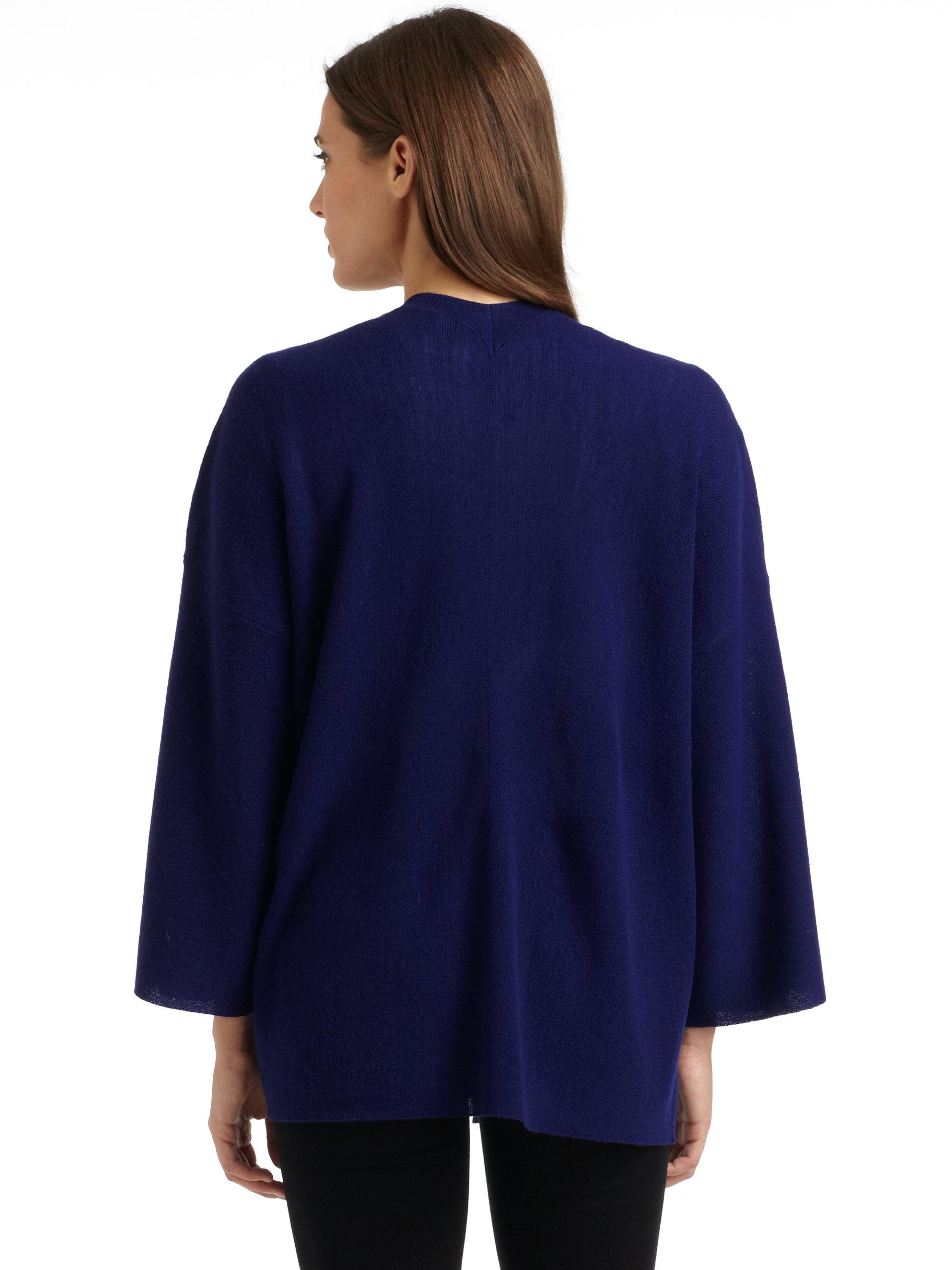 Eileen fisher Merino Wool Kimono Cardigan in Blue   Lyst