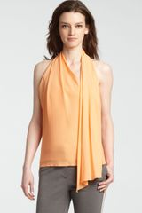 Halston Heritage Halter Top with Draped Scarf Detail - Lyst