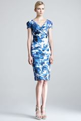 Lela Rose Brushstroke-print Sheath Dress - Lyst