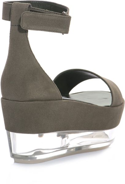 Stella Mccartney Canvas And Persepx Flatform Shoes In Gray