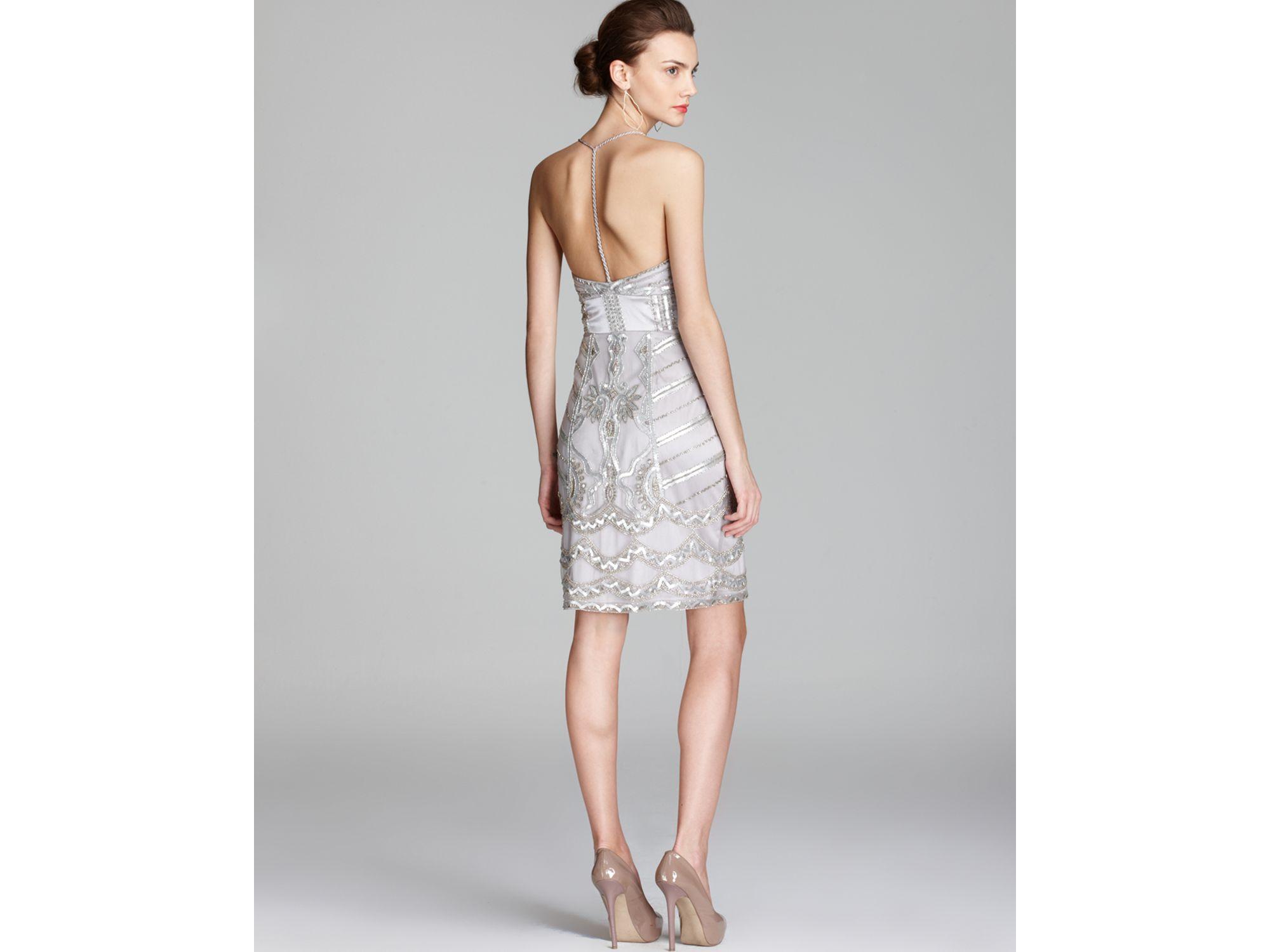 d510b8c2a1e Lyst - Sue Wong Halter Dress V Neck Beaded in Metallic