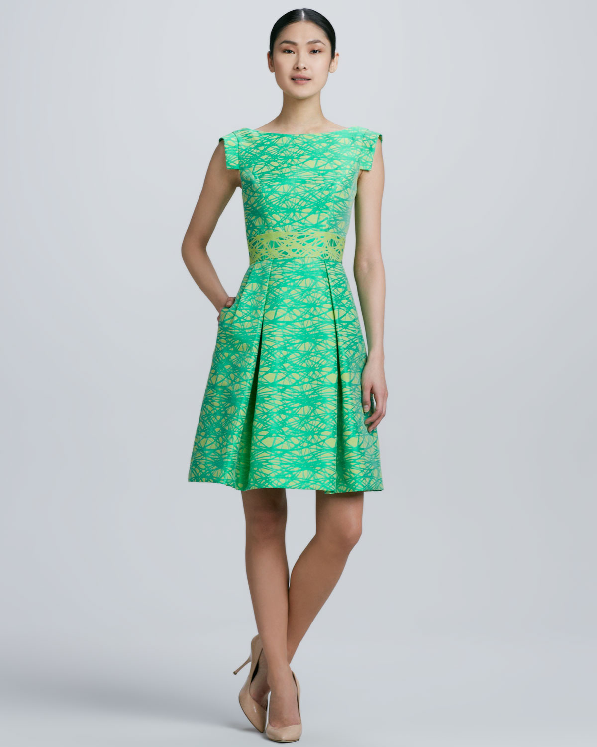 Theia Scoopback Printed Cocktail Dress in Green  Lyst