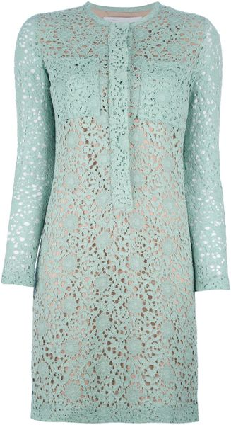 Victoria, Victoria Beckham Floral Crochet Dress in Green (floral)