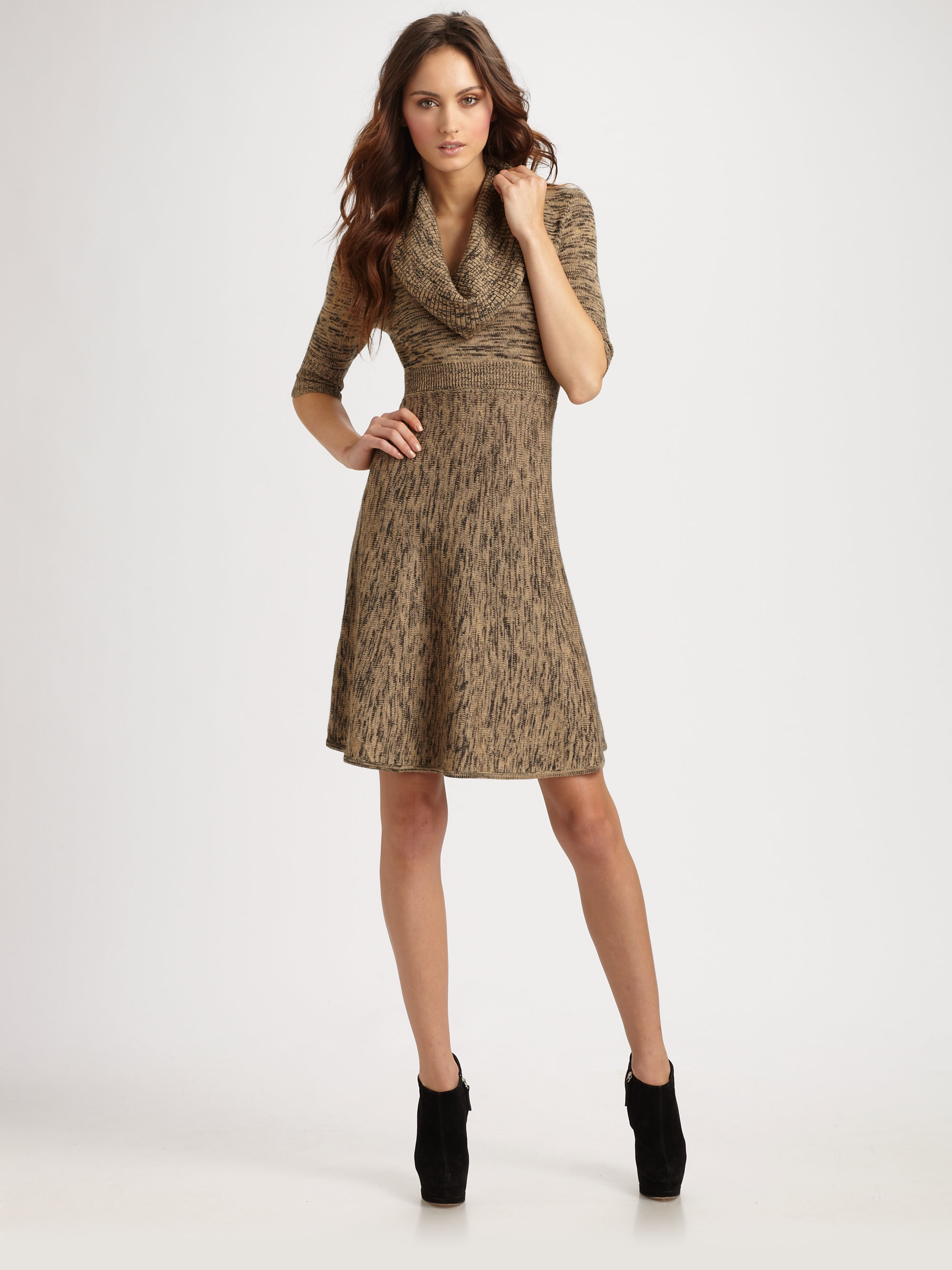 Bcbgmaxazria Talia Marled Cowlneck Sweaterdress in Brown | Lyst