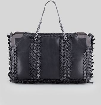 Bottega Veneta Mini Fringe Eastwest Tote Bag Black - Lyst