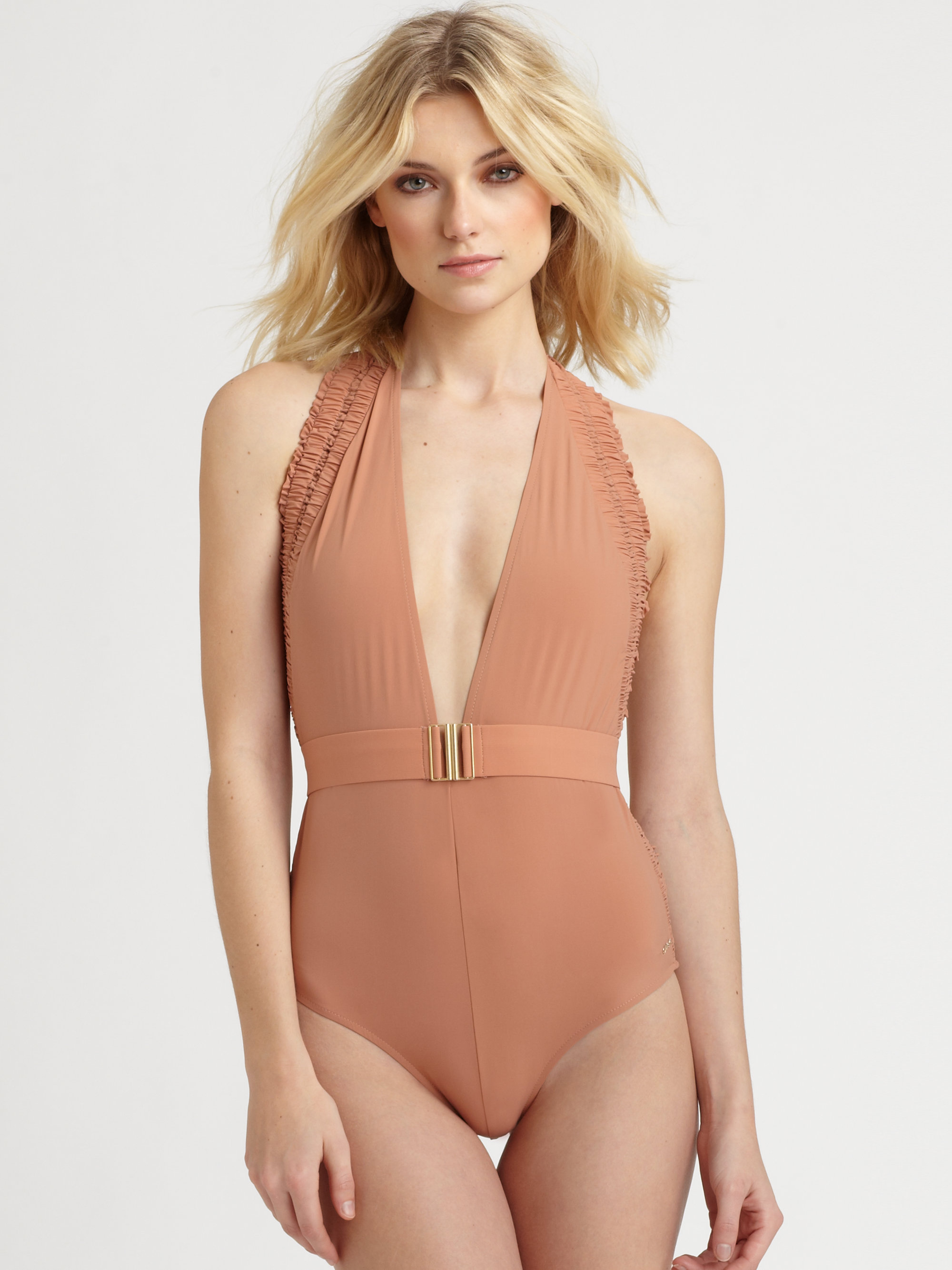 one piece bathing suit nude