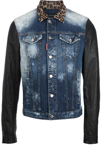 DSquared2 Leopard Collar Denim Jacket - Lyst
