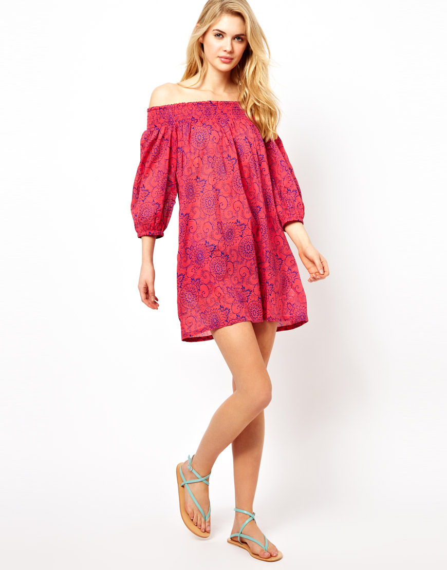 French Connection Flora Fauna Off The Shoulder Dress In