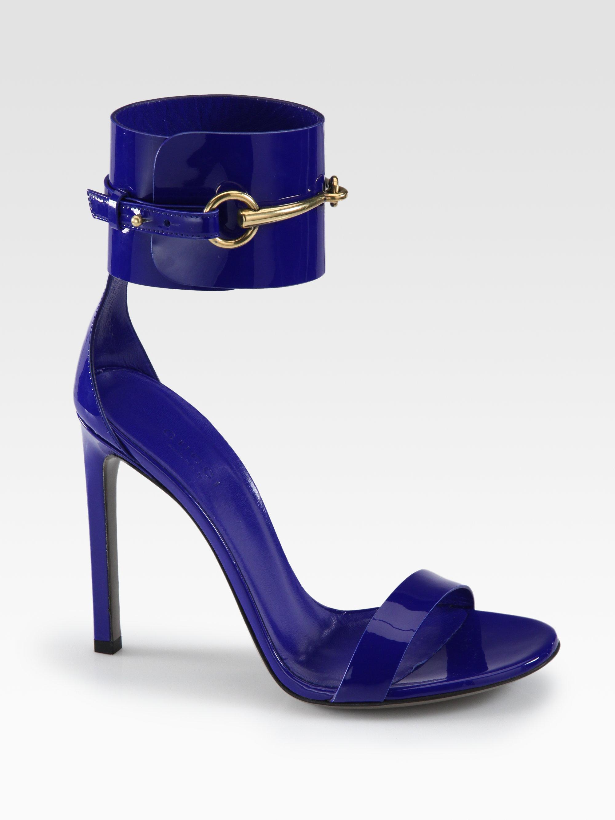 9453f559d63 Lyst - Gucci Ursula Patent Leather Horsebit Ankle-Strap Sandals in Black