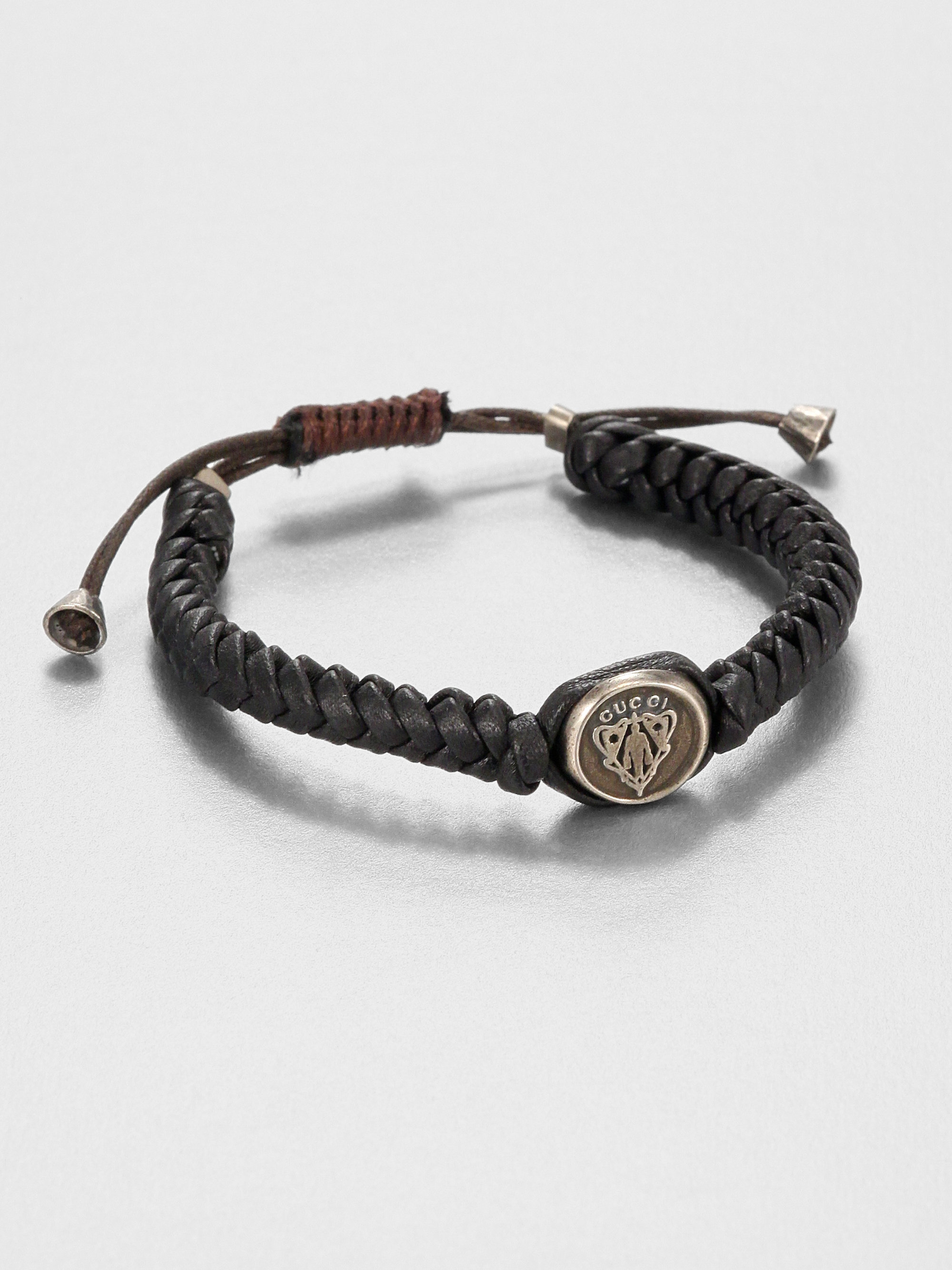 a650a56bf Gucci Woven Leather Bracelet in Brown for Men - Lyst