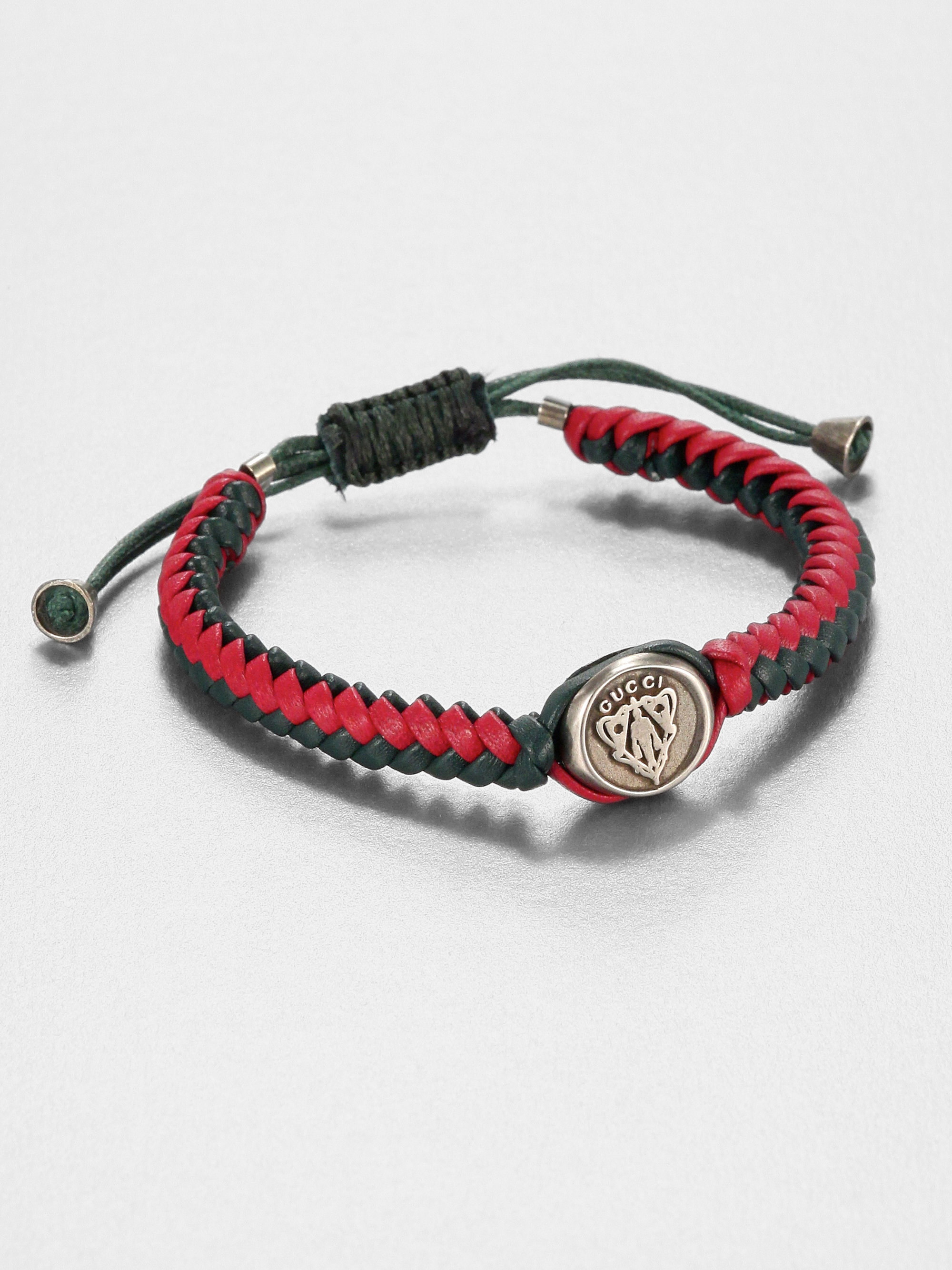 Mens leather gloves for iphone - Gucci Woven Leather Bracelet In Red For Men Lyst