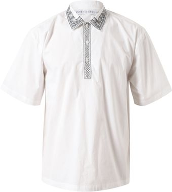 James Long Embroidered Collar Cotton Shirt - Lyst