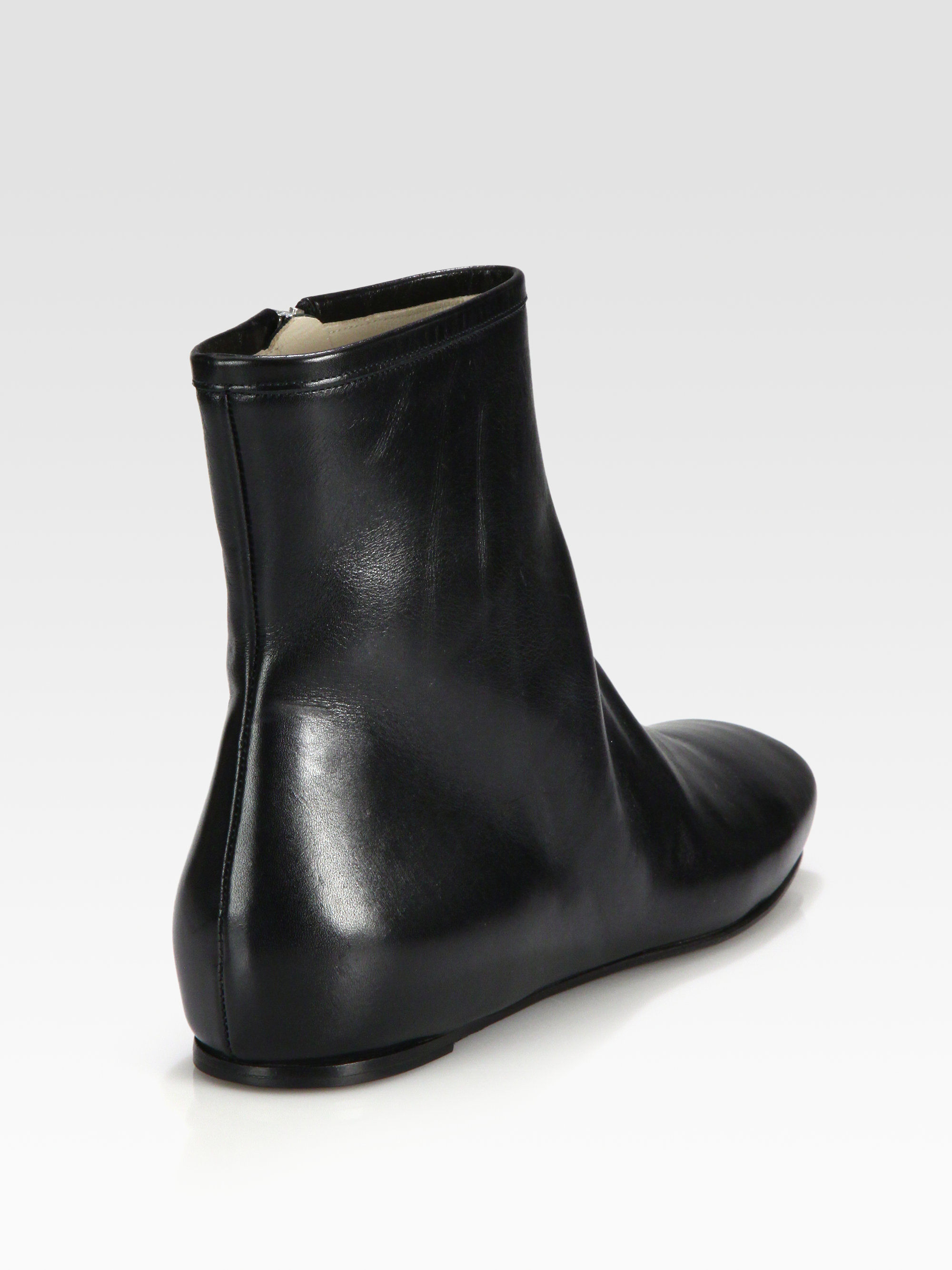 Jil sander navy Flat Leather Ankle Boots in Black | Lyst