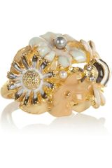 Kenneth Jay Lane Goldplated Crystal Flower and Bee Ring - Lyst