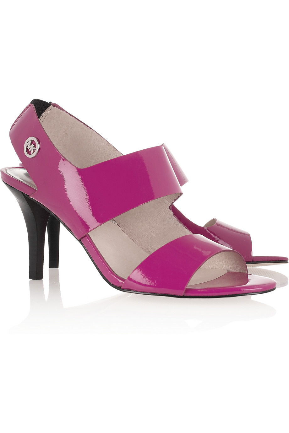 michael michael kors rochelle patent leather sandals in