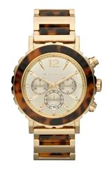 Michael Kors Oversize Tortoisegolden Stainless Steel Lillie Chronograph Watch
