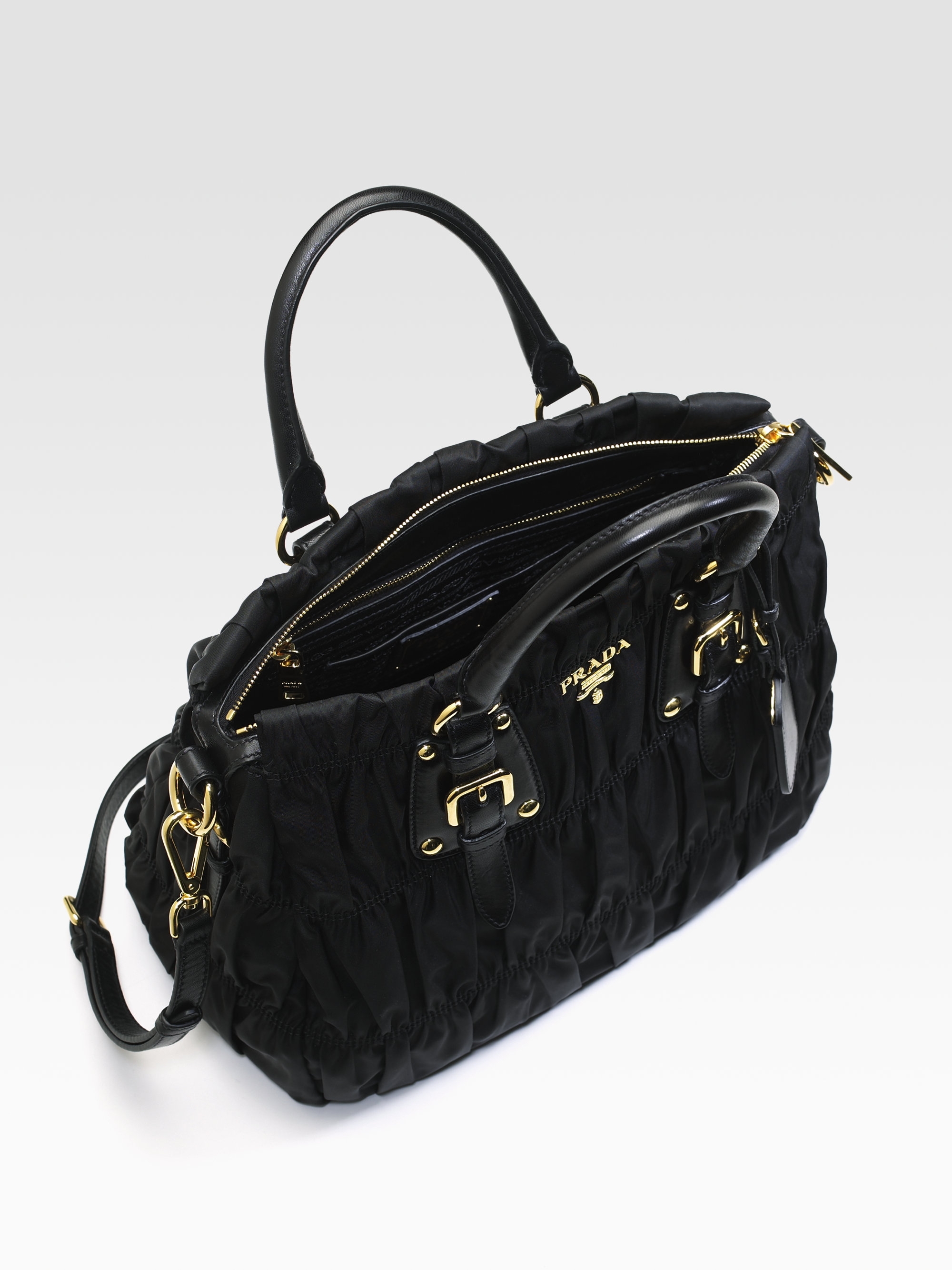 b5f5ca85041093 ... good lyst prada tessuto gaufre tote bag in black 9fdd5 1ddd9