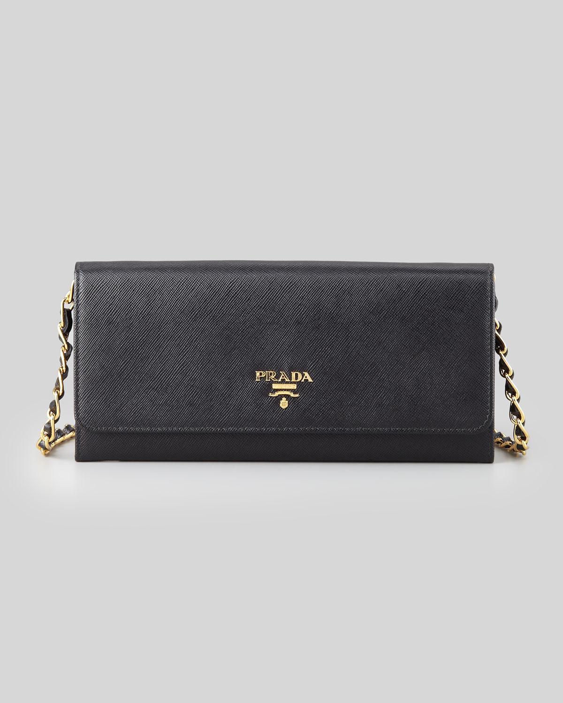 Prada Saffiano Wallet On A Chain in Black (nero) | Lyst
