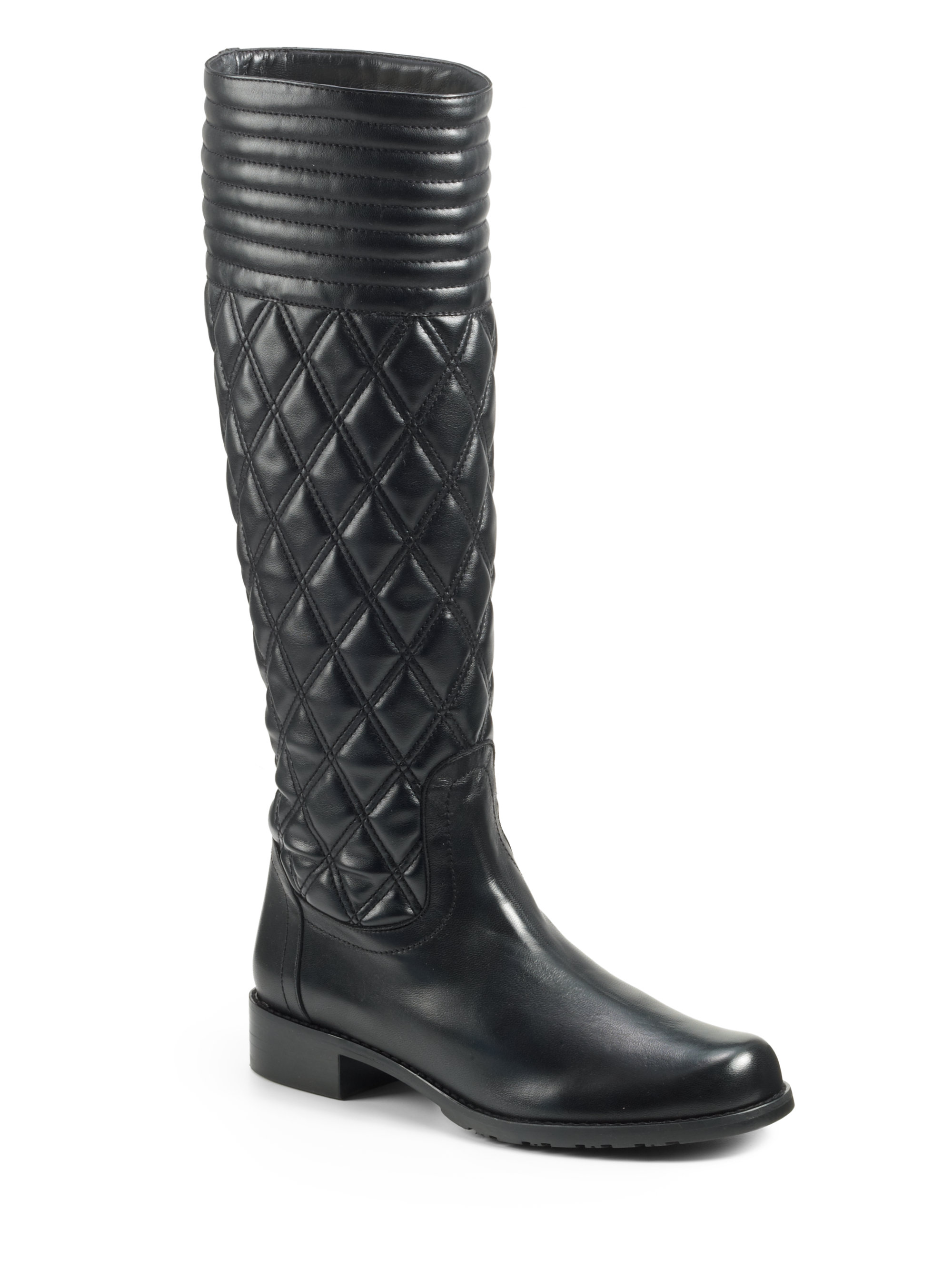 Lyst Stuart Weitzman Clute Quilted Leather Flat Boots In
