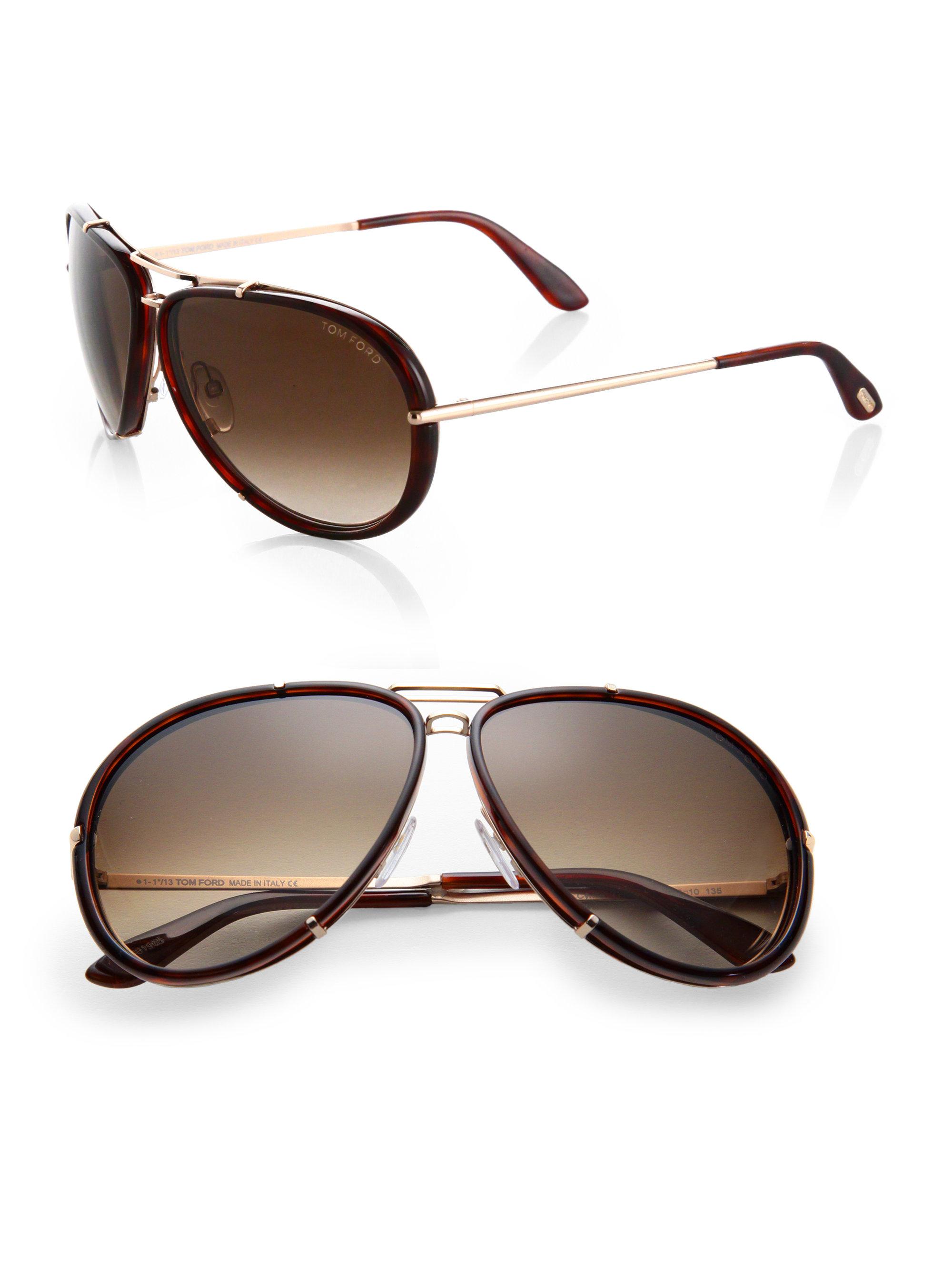 019d57da505d Tom Ford Cyrille 63Mm Aviator Sunglasses in Brown